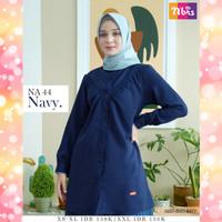 Nibras Atasan NA 44 Navy Biru Dongker Daily Outfit Tunik Blouse Busui