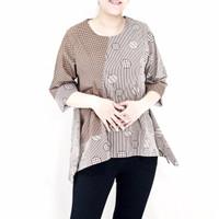 50J Atasan blouse batik asimetris kombinasi big size u/ wanita muslim