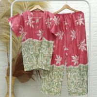 Set Piyama Dewasa / Setelan Baju Tidur Motif Daun Ketela Bahan Rayon - Merah