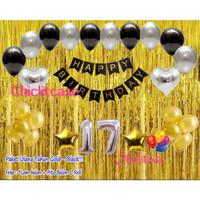 Paket set balon happy birthday dekorasi gold hitam / paket ulang tahun