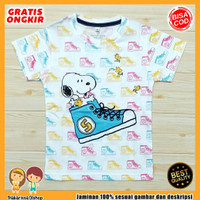 Baju Anak Fullprint Baju Anak / Kaos Anak Lelaki Snoopi Sepatu 0-7 Thn