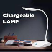 Lampu meja belajar 14 LED 3 mode sentuh rechargeable desktop lamp baca
