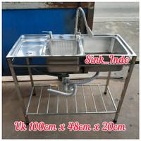 Bak Cuci Piring Portable Kaki Rak Westafel Set Kitchen Sink Cuci 98cm