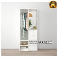 lemari pakaian gantung kayu jati 2 pintu minimalis