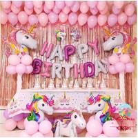 SET Balon Foil Premium Unicorn Head Happy Birthday / Decoration - Dengan Tirai