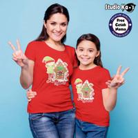 Baju Kaos Couple Natal Ibu & Anak - Free cetak nama - Kaos Warna - SK