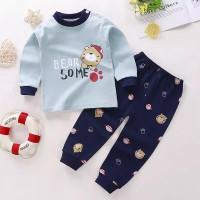setelan anak bayi laki&perempuan motif bear some lucu celana&baju pjg