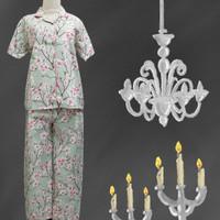 Baju Tidur Wanita Severin (Sakura flower) St. lgn Pdk CLn Pjg All Size - Merah Muda