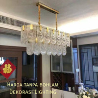 lampu gantung kristal kaca 12lampu gold mewah panjang chandelier 120cm