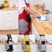 Bear Towel Waterproof Apron / Celemek Masak Kantong Anti Air Lap