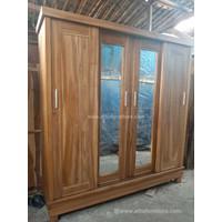 Lemari pakaian minimalis 4 pintu sliding kayu jati LM4 ( coklat muda )