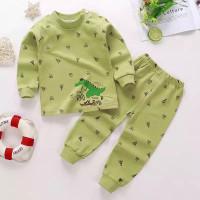 setelan anak bayi laki&perempuan motif dino hijau lucu baju&celana pjg - 80