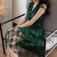 dress lace premium import bahan lace + furing brukat LD 95CM PJG 103CM
