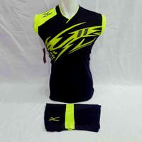 Baju Olahraga Jersey Setelan Singlet Sepakbola Futsal Volly Badminton - Hitam Stabilo, XL