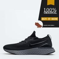 Sepatu Running Original Nike Epic React Flyknit 2 - Gunsmoke/Black