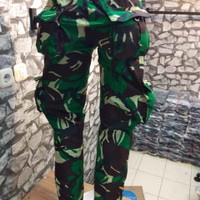 celana panjang kargo loreng army pria
