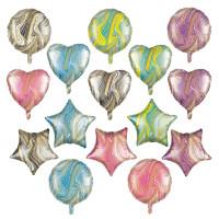 Balon Foil Marble Size 45 cm Hati/Love, Bintang/Star