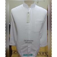 baju koko pria lengan panjang putih Al Mukarrom