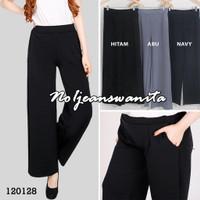 Celana Kulot Jeans Denim Panjang Wanita / Celana Kulot Muslim Wanita - Abu-abu