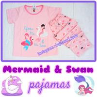 Piyama anak 7-11 tahun Mermaid Swan baju tidur kaos celana panjang