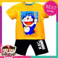 SETELAN BAJU+CELANA Setelan Kaos Anak Laki-Laki Doraemon Oren 1-10 Thn