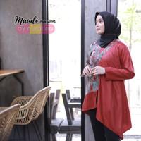 Baju Tunik Hamil Batik Muslimah Kerja Blouse Maudi Marun M