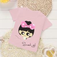 6375 kaos anak sweet pink murah baju kids cewek casual santai 6684