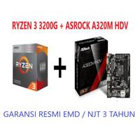 PROCESSOR AMD RYZEN 3 3200G + MAINBOARD ASROCK A320M-HDV GARANSI RESMI