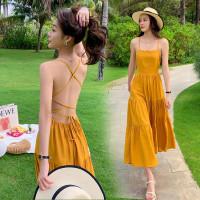 yellow long dress women / casual dress pantai backless premium dress