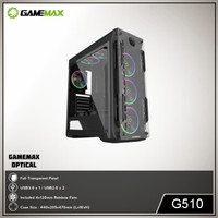 GAMEMAX Casing Optical G510 Gaming PC Case with Fan - Hitam