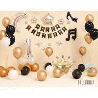 SET Elegant Banner Happy Birthday Black Gold / Paket Ultah Balon Foil