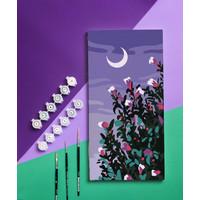 DIY Paint by Number Kit : Lukisan Pemandangan Bunga (Night Flower)