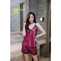 Baju tidur lingerie sexy piyama wanita import silk premium tank top