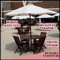Payung Tenda dengan Meja Kursi Terbuat Dari Bahan Kayu Jati Pilihan