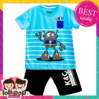 SETELAN SET BAJU + CELANA Baju Setelan Anak Lak-Laki Robot Blue 1-10