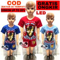 Baju Setelan Anak Laki-Laki Mata Nyala Karakter Ironman Lamp Led