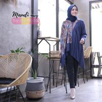 Baju Blouse Batik Lengan Panjang Wanita Maudi Navy Blue L