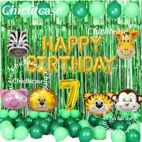 set paket balon ulang tahun anak hewan animal jungle zoo lion singa - umur 9