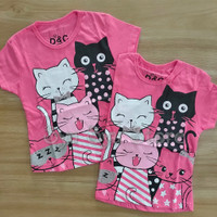 Baju Atasan Kaos Anak Perempuan Kucing Cat Glitter Pink Fanta