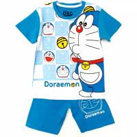 1-6T Setelan baju kaos anak Laki laki karakter Doraemon fullprint biru