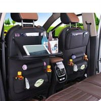 aksesoris interior mobil / car seat organizer dengan meja lipat - Hitam, All Size