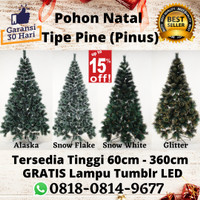 Pohon Natal 2 Meter Bonus LED Tinggi 210cm 7 feet 2,1 meter Tipe Pine