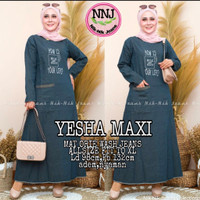 Baju gamis wanita bahan jeans cantik size XL terbaru - Yesha