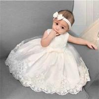 Dress anak bayi perempuan gaun pesta ulang tahun gratis ikat kepala