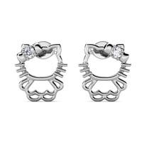 Little Kitten Earrings - Anting Crystal by Her Jewellery - White Gold