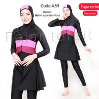 baju renang muslimah wanita remaja dewasa anak - A59, M