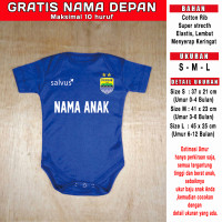 Jersey Baju Bola Bayi Romper Jumper Bayi Persib GRATIS NAMA DEPAN