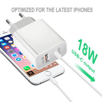 Type C / USB Adaptor Charger 18W Fast Charging PD 2 in 1 iPhone/iPad