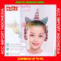 Headphone Headset Unicorn Mic Microphone Anak Belajar Pink Lucu Musik