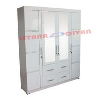 Lemari pakaian 4 pintu putih minimalis